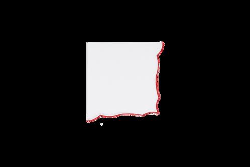 Berry Napkin White-Red edge 43cm