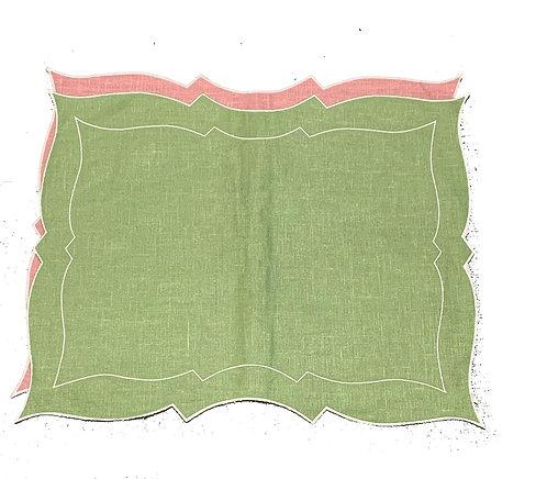 Set of 2 Parentesi Rectangular placemats_green/pink