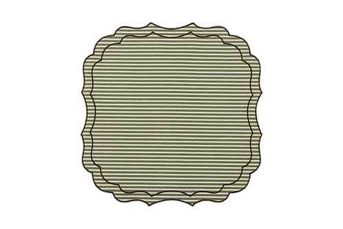 Krinkle Multistripes Placemat_Olive/Brown edge