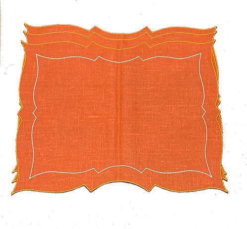 Set of 2 Parentesi Rectangular placemats_Orange/orange/white