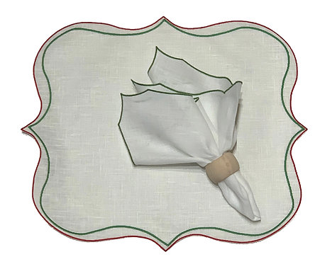 Set of 6 Square Placemat & Napkins_White/green/red