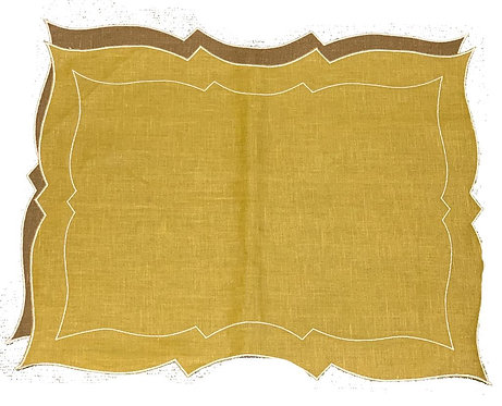 Set of 2 Parentesi Rectangular placemats_gold/nut