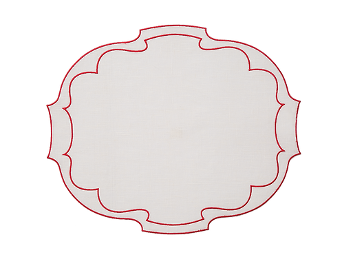 Parentesi Oval_set of 3 - Ivory/red