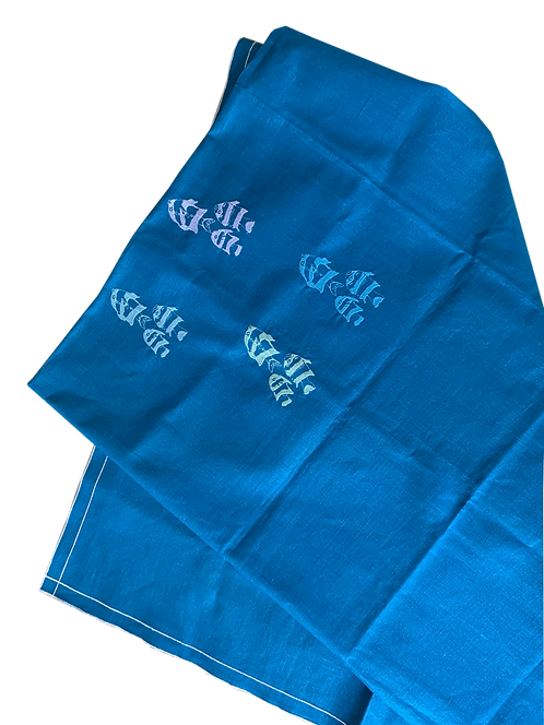 Tablecloth D.Q. - Embroidered Fishes - Cyan/Silver