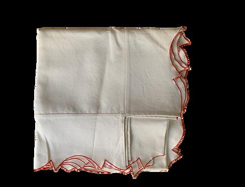 Tablecloth Parentesi Rect. Piquet - White/Orange