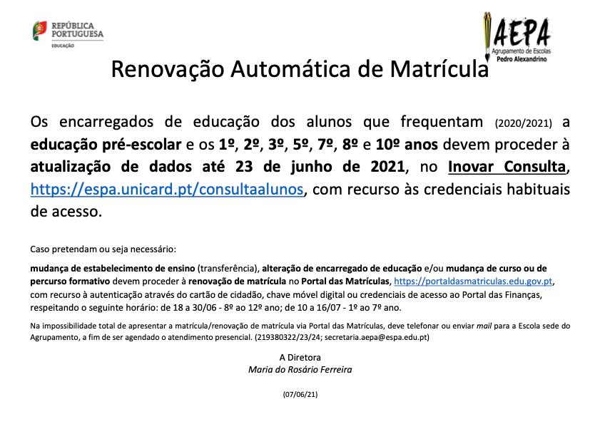 Aviso_Matrícula_ Renovação Automátic