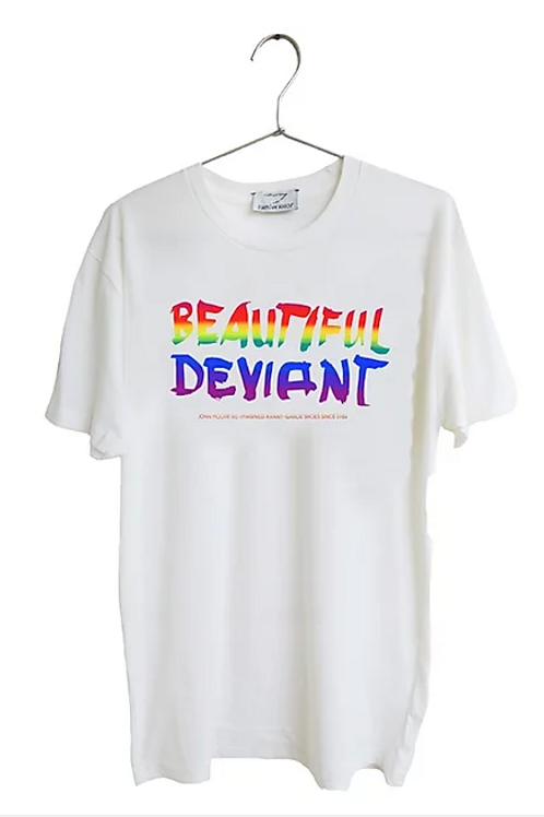 Rainbow hand printed Beautiful Deviant T-shirt / Collaboration with John Moore