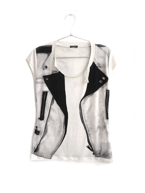 Re-issue of INSIDEOUT Printed Leather cap sleeve silk t-shirt
