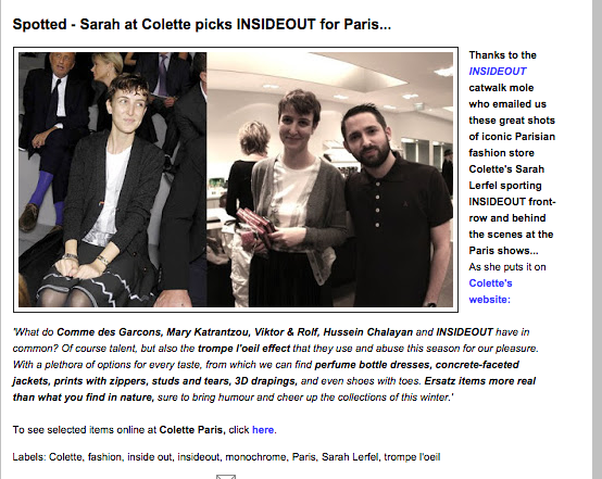 INSIDEOUT  Paris Fashion Week