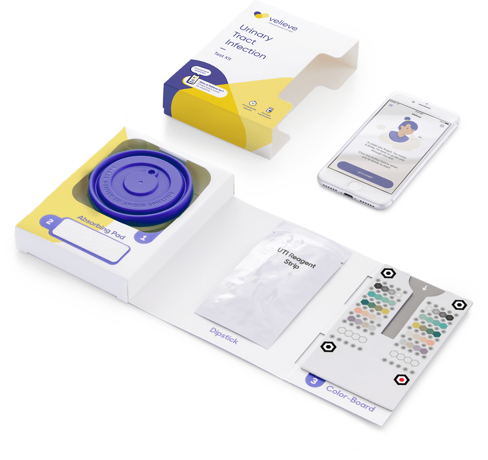 The Velieve UTI home testing urine kit includes cup, dipstick, colour board and mobile app