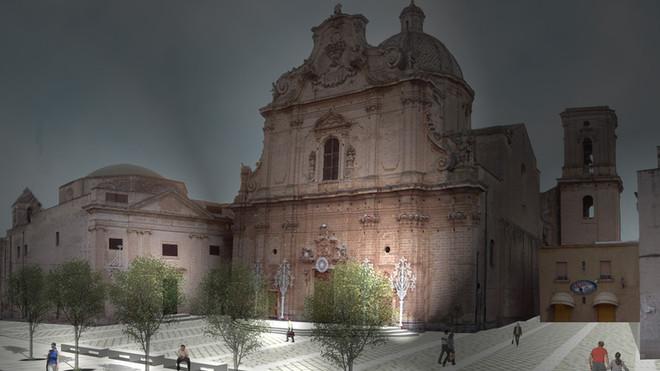piazza chiesa madre FOTOMONTAGGIO notte
