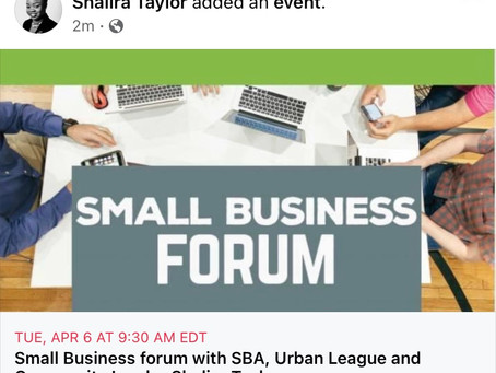 Small Business forum with SBA, Urban League and Community Leader Shalira Taylor