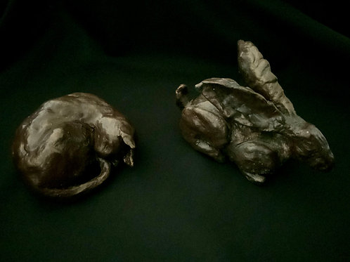 Duo of 'Sleeping Cat' and 'Hare' sculpture kit