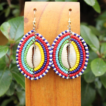 Maasai Beaded Cowrie Shell Earrings