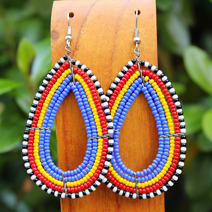 Raindrop Earrings - Blue/Yellow/Red