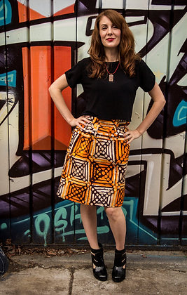 Kitenge Print Wrap Skirt (Phoebe O-2)