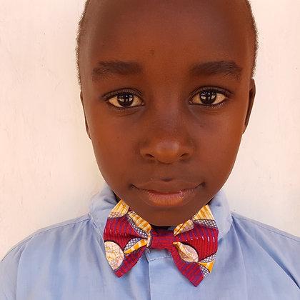 Youth Kenyan Kitenge Print Bow Tie ~ Pre-Tied, Adjustable ~ Print 2