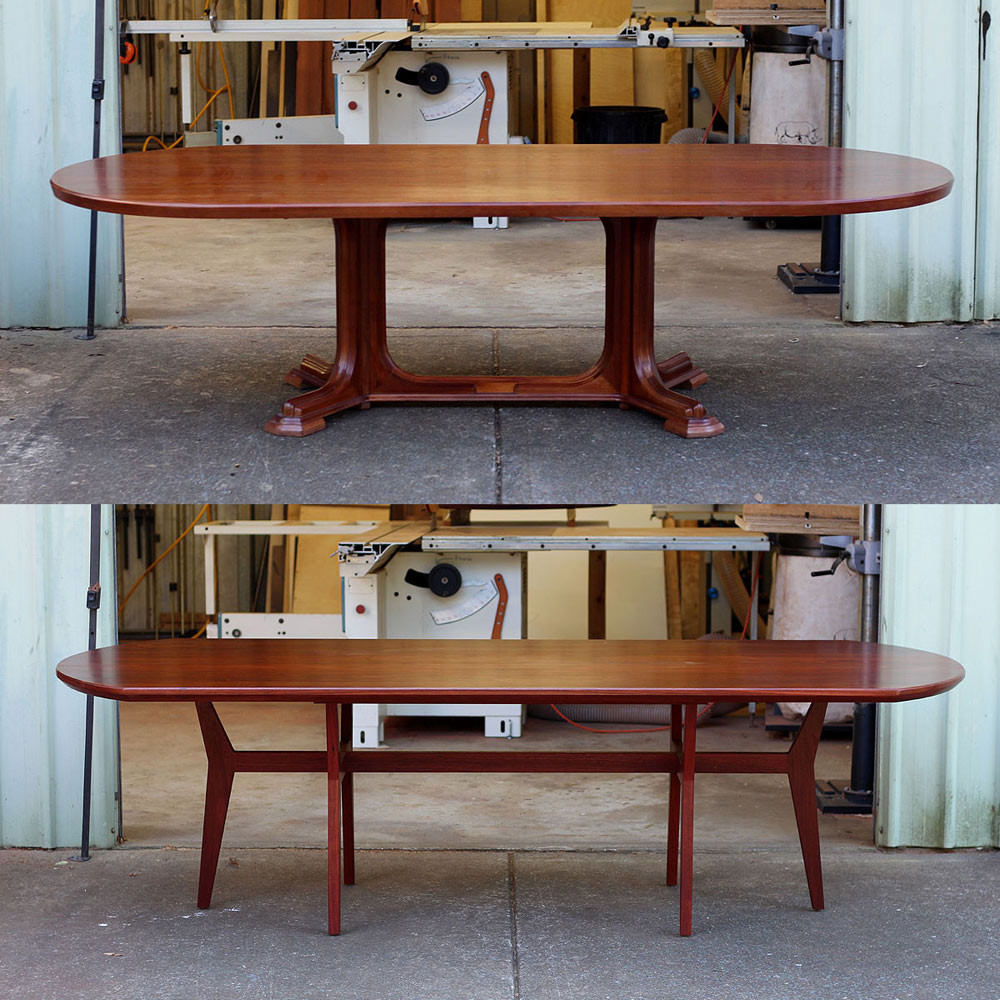 Fremantle dining table before and after