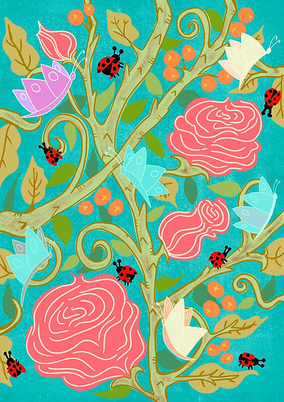 Ladybugs, roses and butterflies