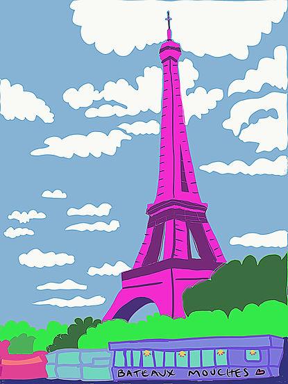Pink Eiffel Tower Illustration