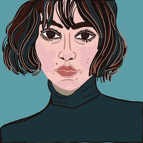 Short haired girl portrait - illustration