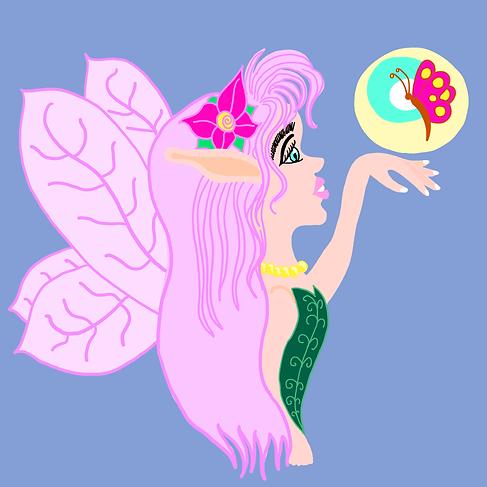 Pink Fairy & Butterfly - Children's Illustration