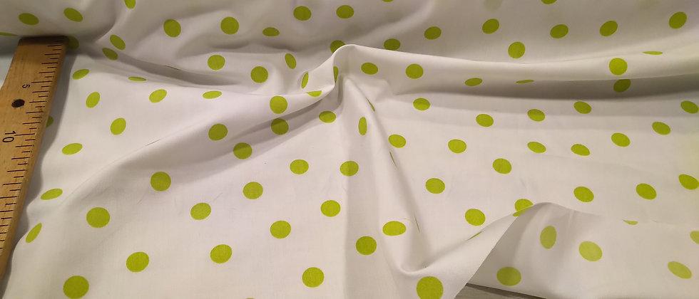 Algodón blanco lunares verdes