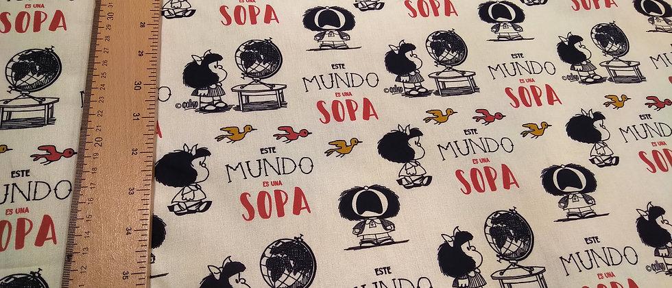 Retal algodón 33x48cm Mafalda Este mundo es una sopa