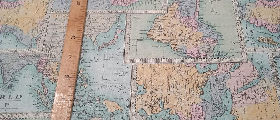 Hule resinado mapamundi azul 1.40m ancho