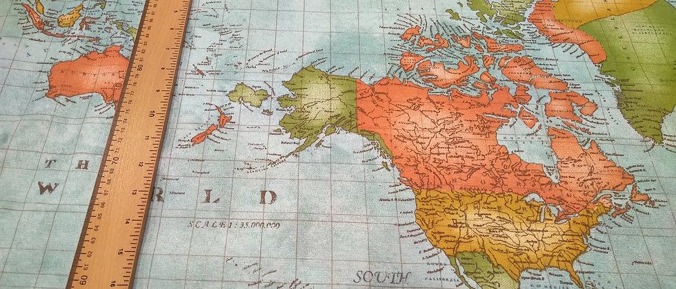 Loneta mapamundi  2.80m ancho