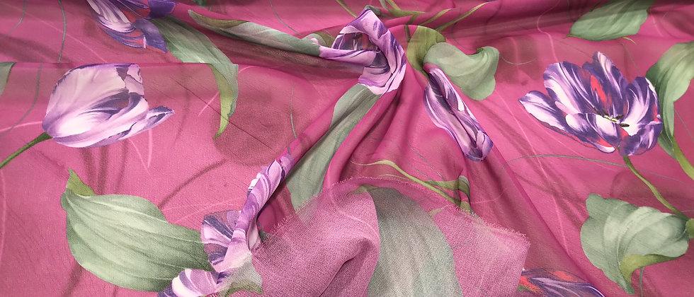 Gasa 100% poliéster rosa flores