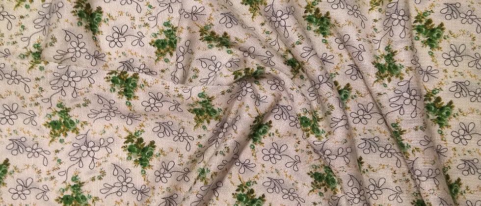 Punto de algodón estampado floreado