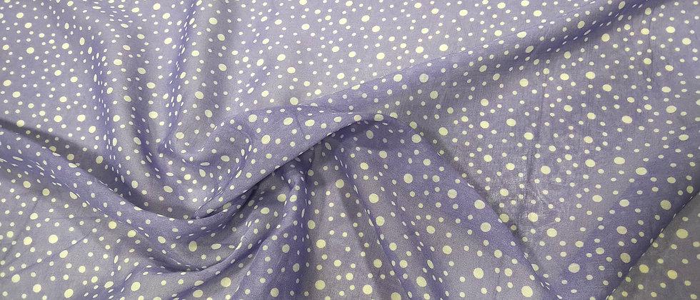 Viscosa de algodón lila lunares blancos