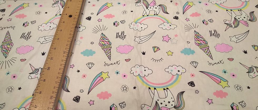 Algodón unicornios rosa/azul