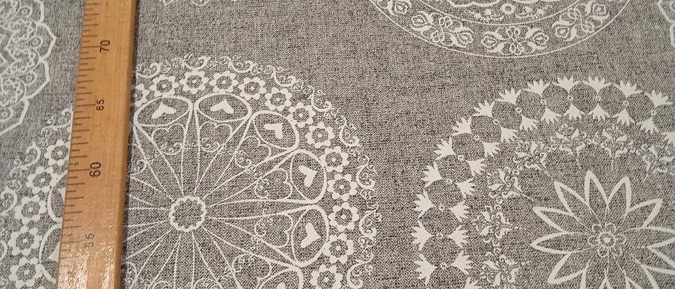 Hule resinado mandalas gris 1.40m ancho