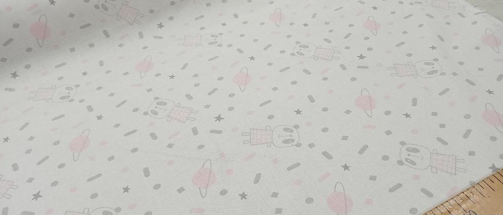 Algodón infantil galaxias ositos rosa