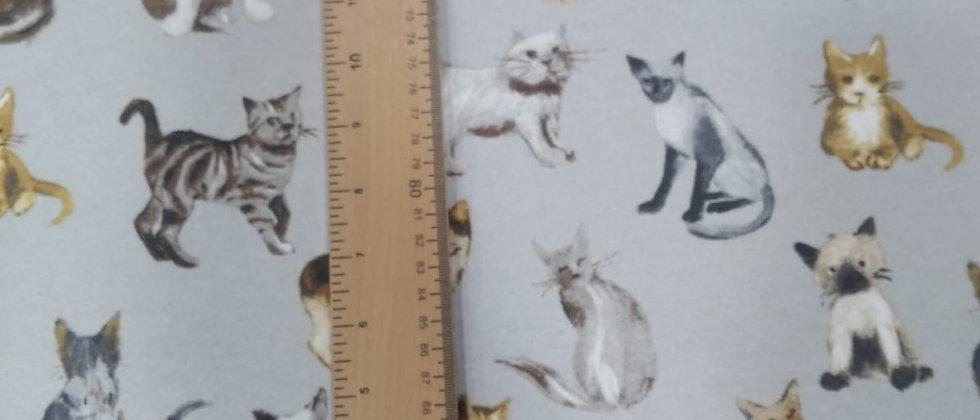 Loneta gris gatitos 1.50m ancho