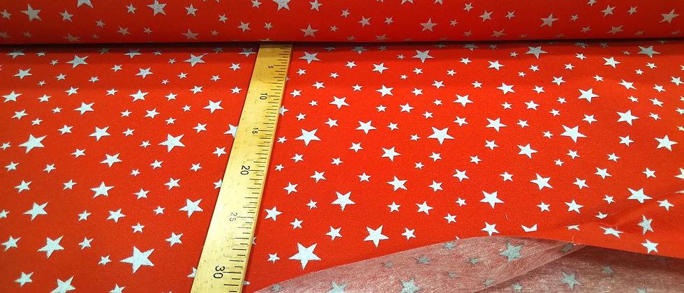 Loneta roja estrellas 1,40m ancho