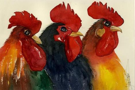 We Three Cocks Card