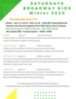 SATURDAYS BROADWAY KIDS CLASSES winter 2
