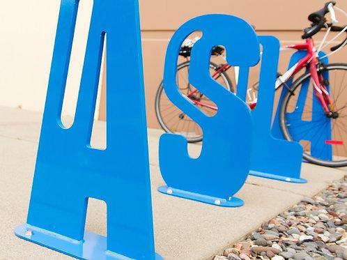 Placa de diseño para estacionamiento de bicicletas