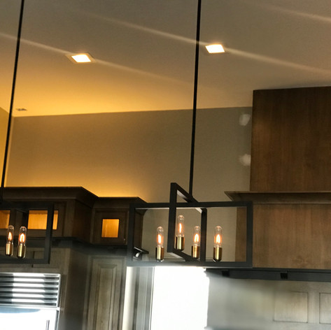 Kitchen lighting design with square trims