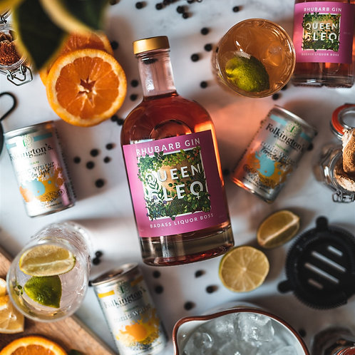 Queen Cleo Rhubarb Gin with a Twist of Lime - 70cl Bottle