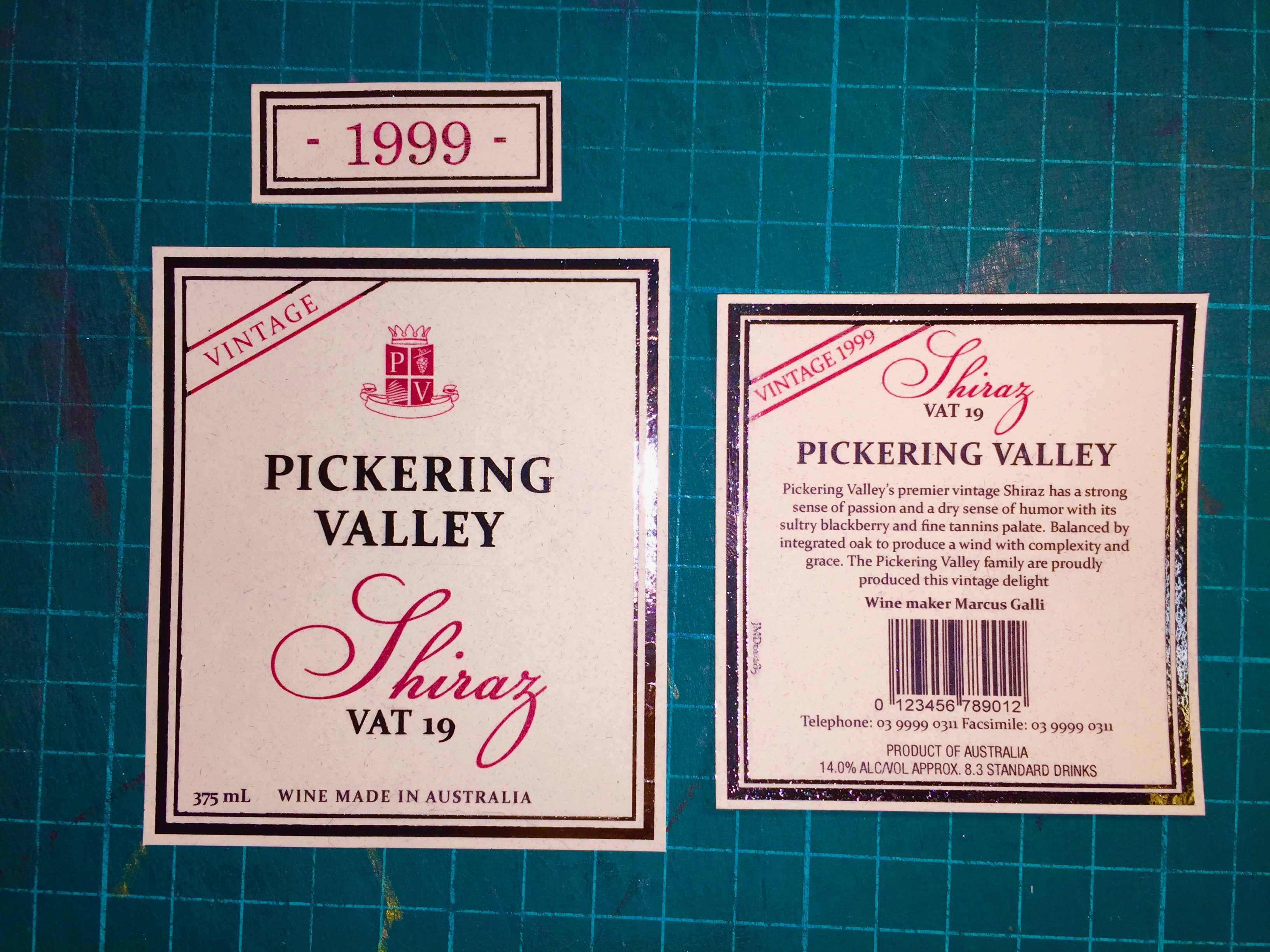 Wine Labels with Gold Foiling