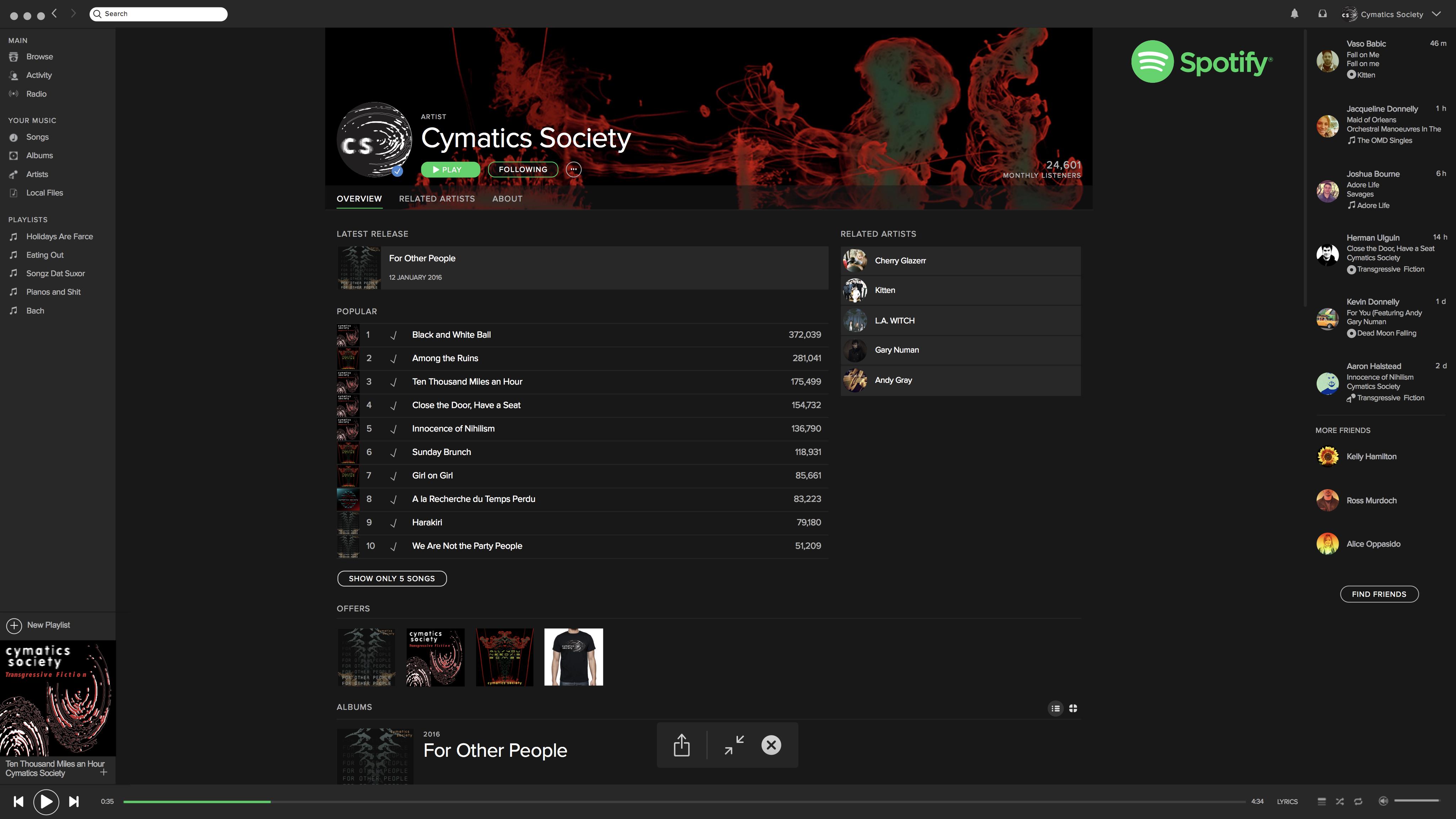 Spotify Artist Page