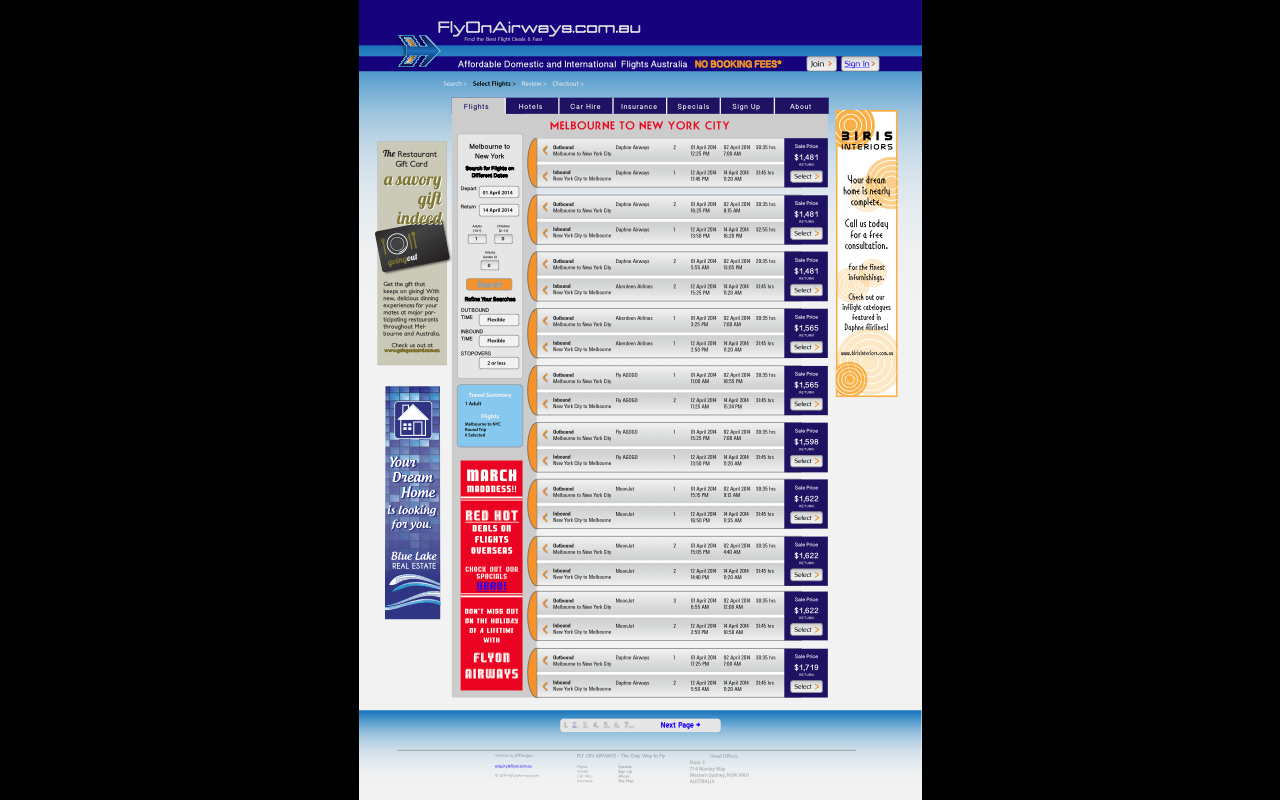 Cheap Flight Search Website