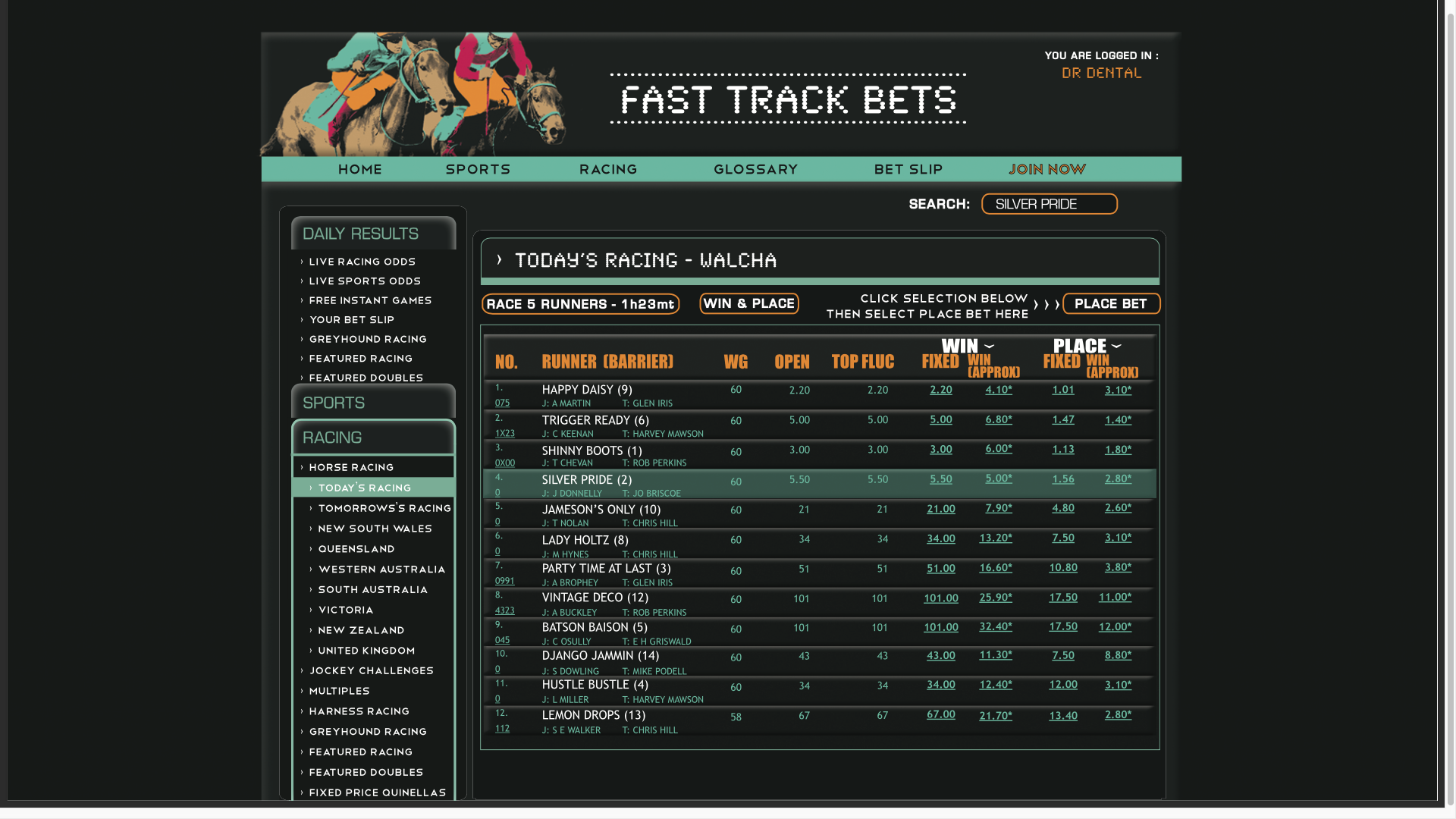 Horse Betting Website