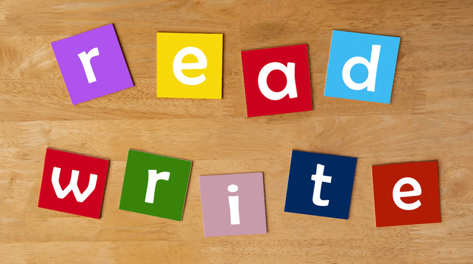 read, write - word sign for school chil