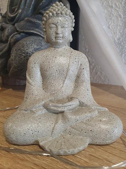 Bouddha Assis Gris clair 12cm hauteur