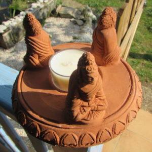 Bougeoir terre cuite 3 bouddhas